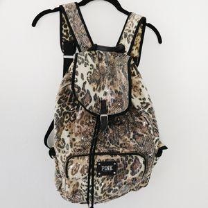 PINK Sequin Cheetah Leopard Print Cloth Backpack